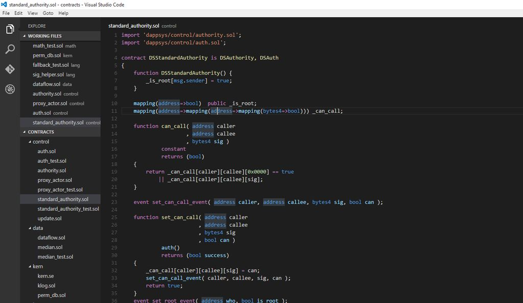 codice Solidity e Visual Studio Code